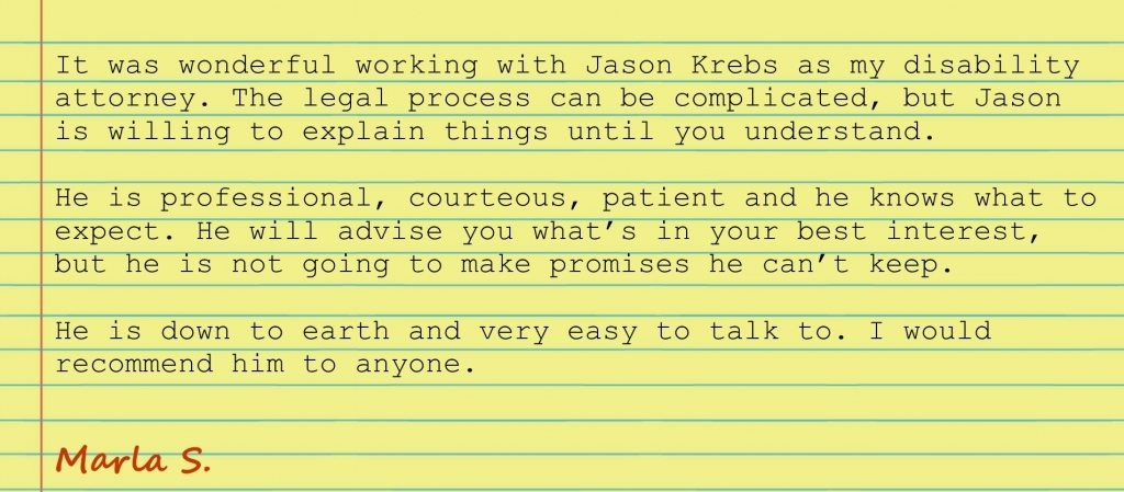Marla S Testimonial - Krebs Law Firm - Social Security Disability Attorney in Missouri and Arkansas